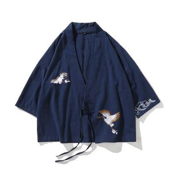 Chinese Hanfu Retro Coat Men Cardigan Irregular Embroidery Men's Robe Cotton Linen Fall Shoulder Seven-Point Sleeve Zen Cardigan drop shoulder self tie cardigan