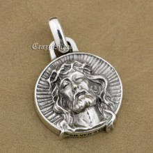 LINSION 925 Sterling Silver Jesus Christ Charms Biker Rock Punk Pendant TA39