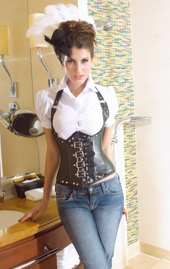 ecb06e0039 Gothic Corset clothing Halter orange leather chest corset mention the intersection  vest corsets and bustiers steampunk corset-in Bustiers   Corsets from ...