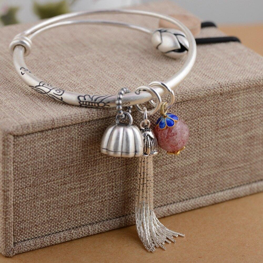 Beau cadeau de noël 990 argent femelle gland Lotus semis émail bleu accessoires Bracelet Antique Pull longueur nouveau Bracelet