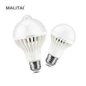 Image 1 - PIR חיישן התנועה נורות E27 220 V מנורת LED חיישן קול 3 W 5 W 7 W 9 W 12 W למדרגות מרפסת מסדרון חירום לילה הנורה