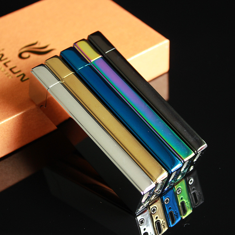 Classic new mirror USB rechargeable lighter electric heating wire cigarette lighter double ignition high grade men