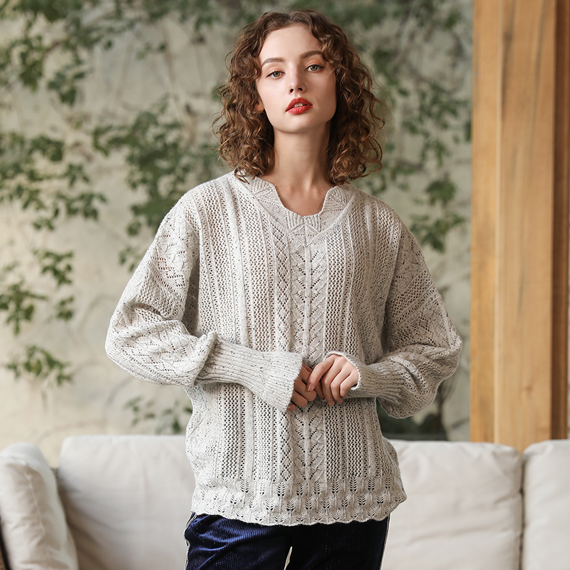 Autumn New Women Short Sweater Casual Hollow Out Knitted Sweater Tops Long Sleeve O neck Pullover