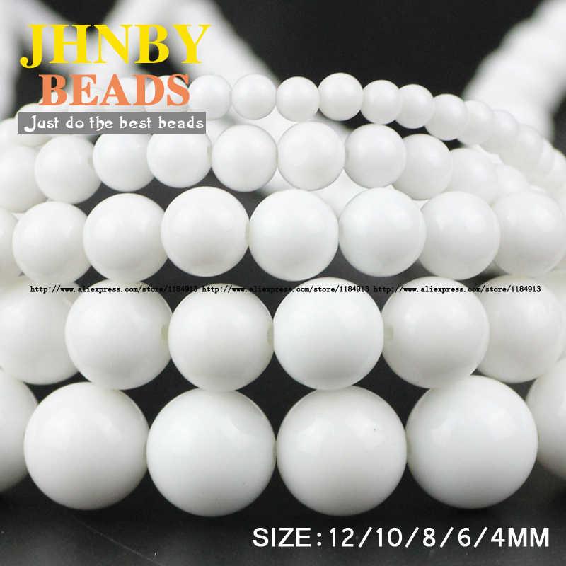 JHNBY AAA السيراميك أحجار بيضاء الخرز الحجر الطبيعي الجولة فضفاض الخرز الكرة 4/6/8/10/12 مللي متر مجوهرات سوار إكسسوارات صنع لتقوم بها بنفسك