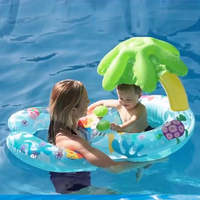 Baby Swimming Circle Seat Inflatable Mattress Safe Ring With Mother Awning Pontoon Pool Floating Island Toy Bed Boat For Kids