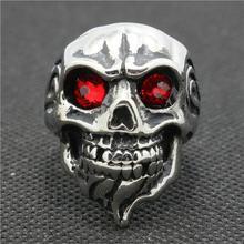 Acero inoxidable 316L plata pulido rubí cristal de la CZ barba ojo del anillo del cráneo