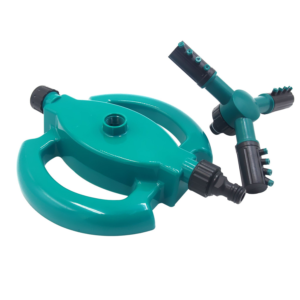 Image 2 - improvement supplies convenient  and practical Garden Sprinklers Automatic Watering Grass Lawn 360 Degree Fully 3 Nozzle Circle-in Water Cans from Home & Garden