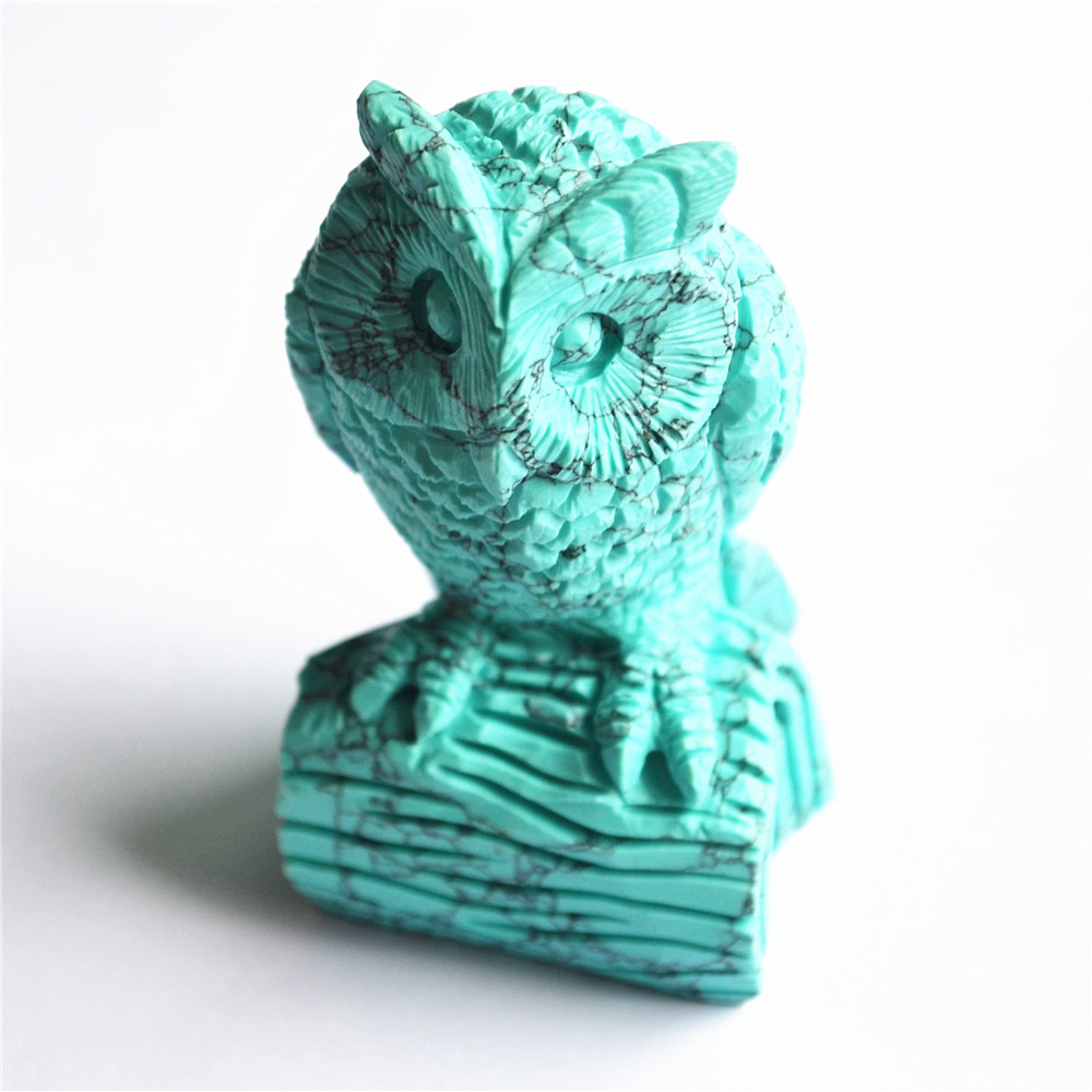 New 3.0inches Blue Howlite Turquoises Natural Stone Hand Made Carved Scrub Owl Figurine Carving Chakra Healing Free Shipping