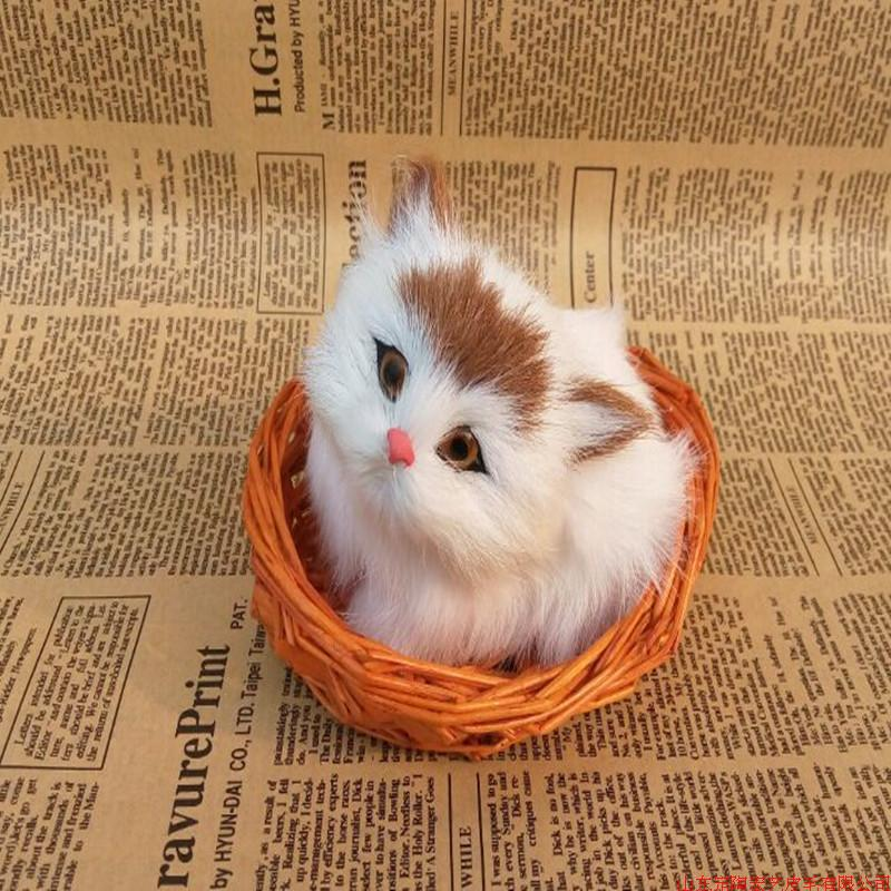ФОТО small cute simulation cat polyethylene & furs cat doll in a basket about 12x10cm 057