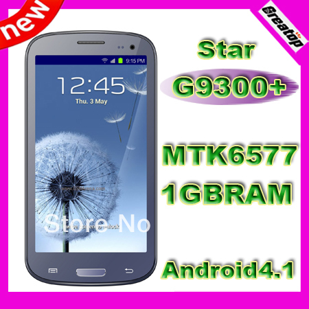 "China quad core phone MTK6577 1GB RAM+4GB ROM Star G9300+ 4.7"" Android 4.1 GPS 3G Smart phone +Flip cover SG post free shipping"