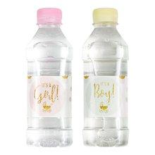 Pegatinas para etiquetar botellas de agua para Baby Shower, 12 Uds., etiqueta de género para niño/niña, decoración de bautizo, suministros de baño para bebé