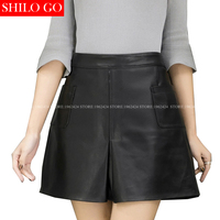 SHILO GO New Fashion Street Women's Empire Sexy Formal Pocket A Line Skirt sheepskin Genuine Leather Skirt Ladies Concise Skirt