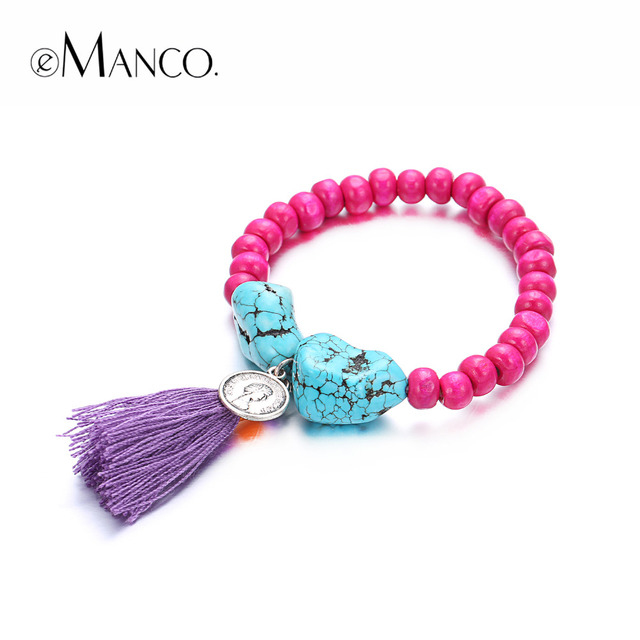 eManco stretch bohemia bracelet for women's crystal wood beads tassels charms bracelets & bangle with stone 18 colors