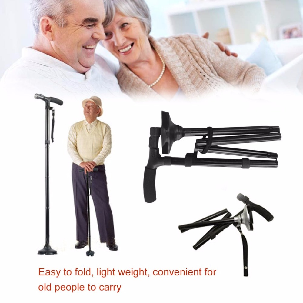 LED Light Folding Old Man Safety Walking Stick 4 Head Pivoting Trusty Base For T-Handlebar Trekking Hiking Poles Cane for elders