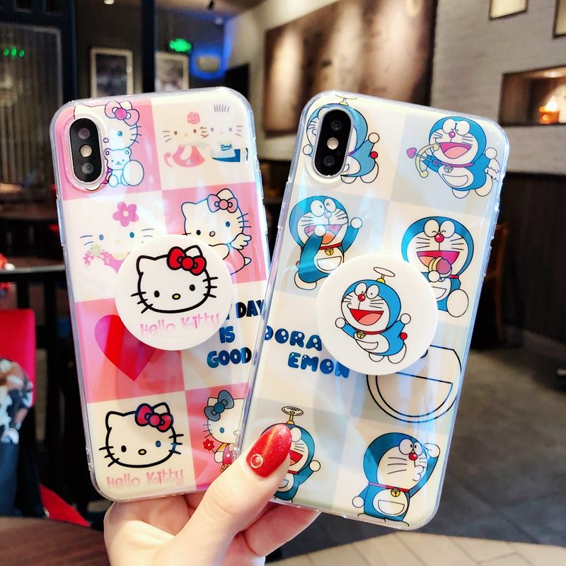 For iphone X Cute Hello kitty case with POP Expanding Stand Finger Holder For iPhone 8plus 6 6S 6Splus 8 7 7plus Doraemon case