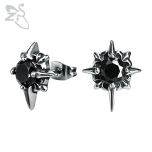 ZS Mens Stainless Steel Earrings Black Punk CZ Stone Star Ear Stud Jewelry 1 Pair Hip Hop Earring Gothic Jewlery Accessories