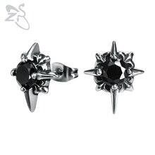 цены ZS Men's Stainless Steel Earrings Black Punk CZ Stone Star Ear Stud Jewelry 1 Pair Hip Hop Earring Gothic Jewlery Accessories