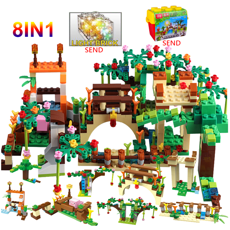 Toys & Hobbies Sincere Legoing Minecraft Series Hope Flower Bridge 8-in-1 Model 4 Figures Blocks Toys For Children Compatible Minecrafts Legoings Sets Pleasant In After-Taste