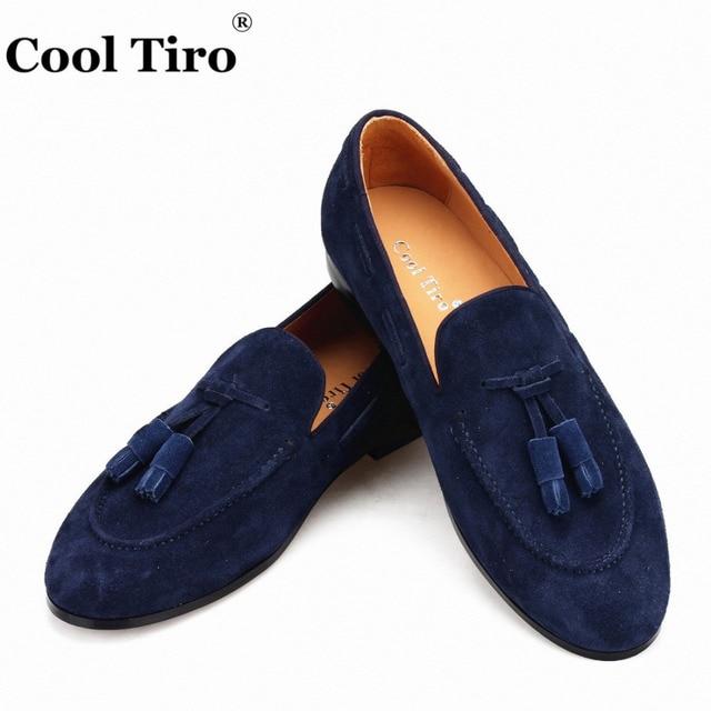 e9690e67d278b Cool Tiro Navy blue Suede Belgian Loafers Tassels Men's Moccasins Slippers  Smoking Man Flats Dress Shoes Casual Shoes Gentlemen