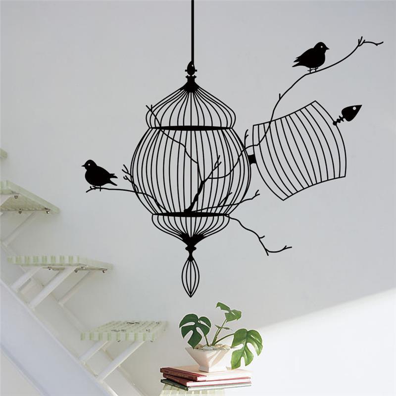 venta caliente jaula de pjaros pegatinas de vinilo de pared dormitorio decoracin rama de rbol