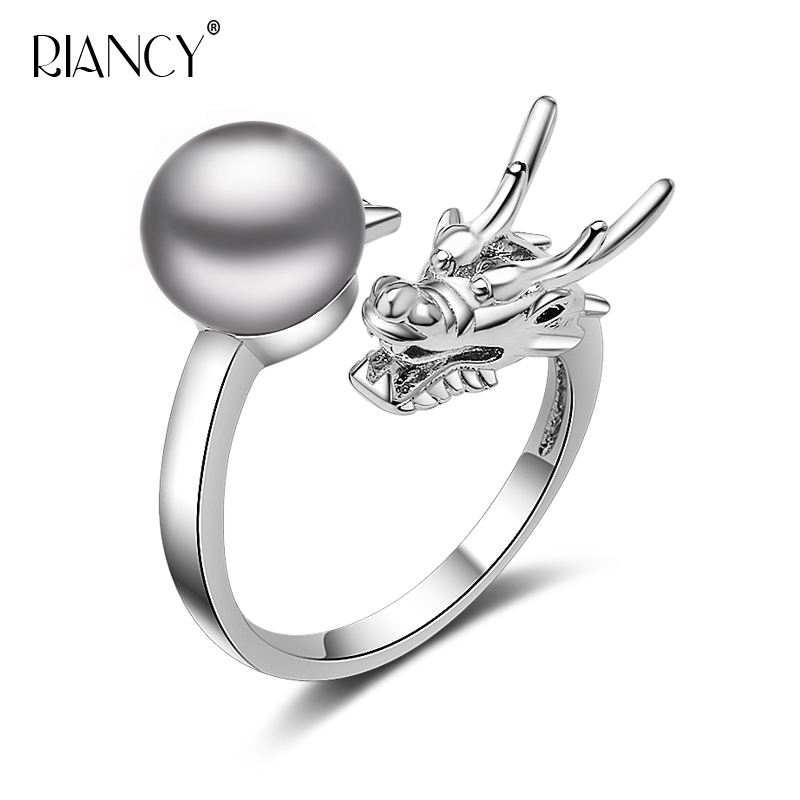 Vintage Dragon Ring For Women,femme Bohemia 925 Sterling Silver Adjustable Ring Dragon Natural Pearl Jewelry White Black
