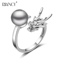 Vintage Dragon ring for women,femme bohemia 925 sterling silver adjustable dragon natural pearl jewelry white black