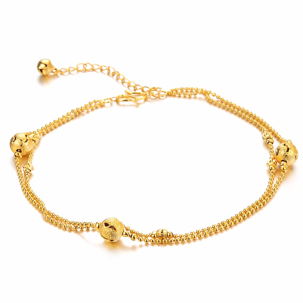 Fate Love Brand Jewelry 2017 Romantic Yellow Gold Color Women Summer Anklets  Low Price Wholesale Birthday
