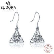 EUDORA, 925 пробы, серебряные, кельтские, Tiquetra, троичный узел, висячие серьги, модные серьги, для женщин, хорошее ювелирное изделие, очаровательный подарок, CYE043