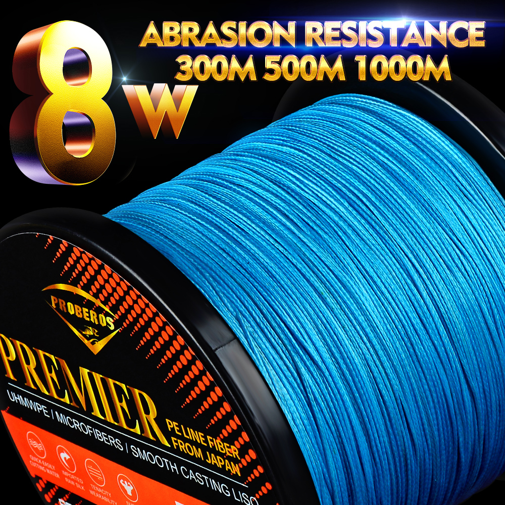 Proberos Fishline 8 stands 300M&500M&1000M Fishing Line Red/Green/Grey/Yellow/Blue 8 Weaves Braided Line 20LB-300LB PE Line