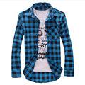 2015 plaid shirt men chemise homme casual shirts ropa hombre mens blusas camisetas masculinas social clothing male MXB0040