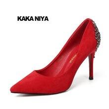 Female Crystal High Heels Shoes Wedding Pointed Toe Size 4 34 Rhinestone  2018 Scarpin Pumps Dress Metal Women Red Jewel Suede 1aec2494101f