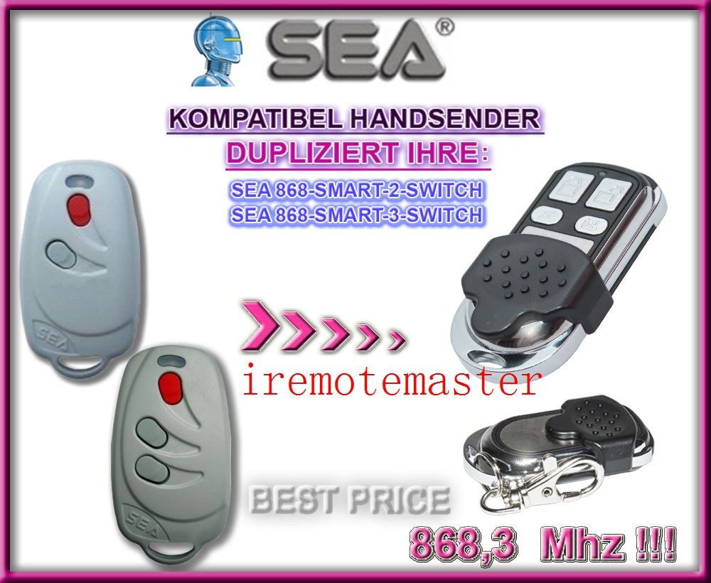 Aftermarket SEA 868-SMART-2/3-SWITCH compatible remote control transmitterAftermarket SEA 868-SMART-2/3-SWITCH compatible remote control transmitter