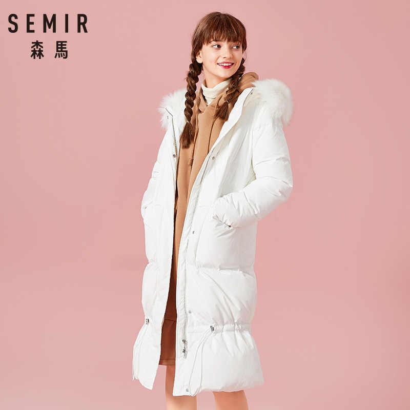 SEMIR Новинка 2019, зимняя куртка, пальто, женская пуховая парка, плюс размер XXL, Толстая теплая длинная свободная зимняя одежда с капюшоном, хлопковая стеганая куртка