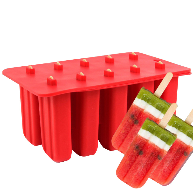 10 Holes Silicone Ice Cream Tubs Eco-Friendly Popsicle Mold Household Non-toxic Child Ice Cream Tools Kitchen Gadgets
