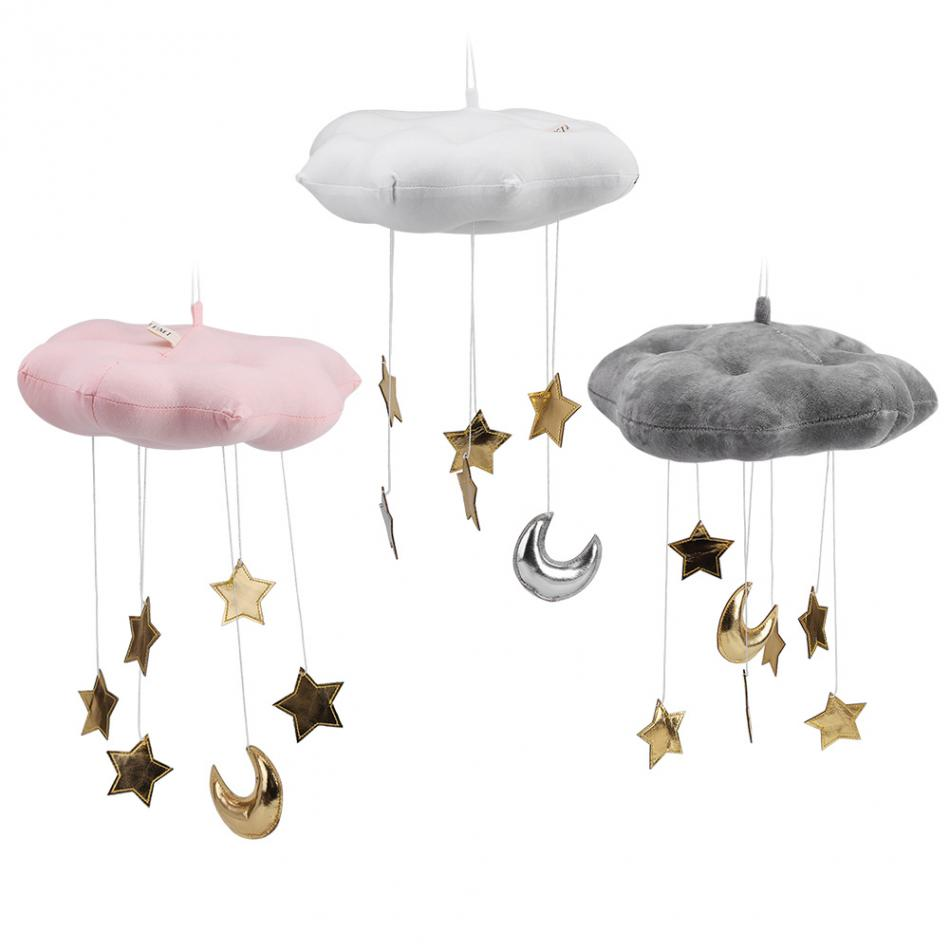 Floating Cloud Pendant with Moon Stars Baby Crib Bed Room Play Hanging Decoration baby hanging bed seat plush toy Hand Bell Kids Детская кроватка