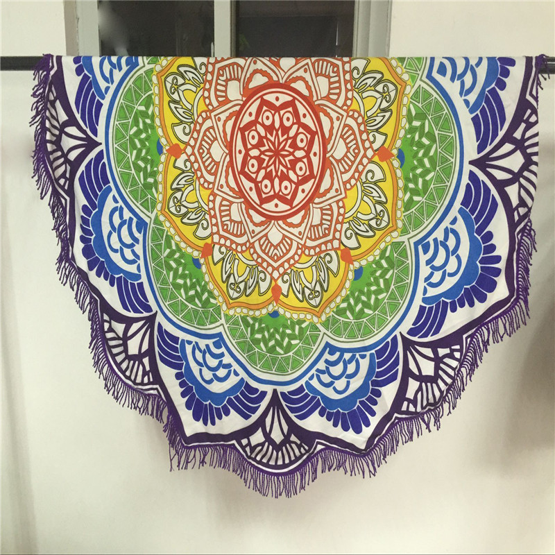 Hippie Tapestry Beach Throw Roundie Towel Yo-ga Mat Bohemian Beach Pool Home Shower Towel Blanket Table Cloth Oct10