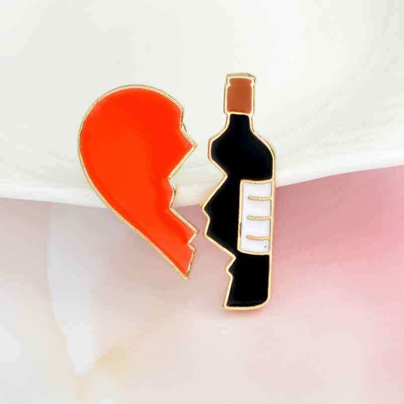 Oly2u 2pcs set Broken heart and Red Wine Bottle Metal Brooch Pins DIY Sweater Pin Badge Gift Jewelry for women men jewelry