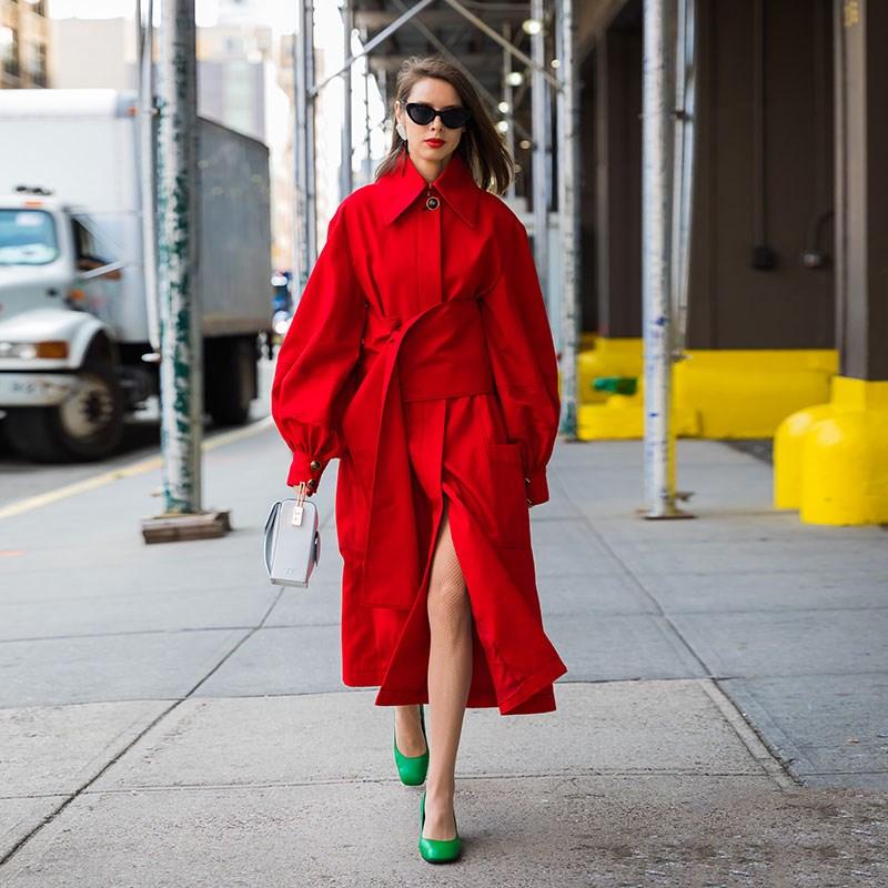 Ceinture Split Trench Coupe De Retour Lanterne 2019 vent Manches Rouge Femelle Nouveau Printemps Mode Femmes coats Large Tranchée 5A34LRj