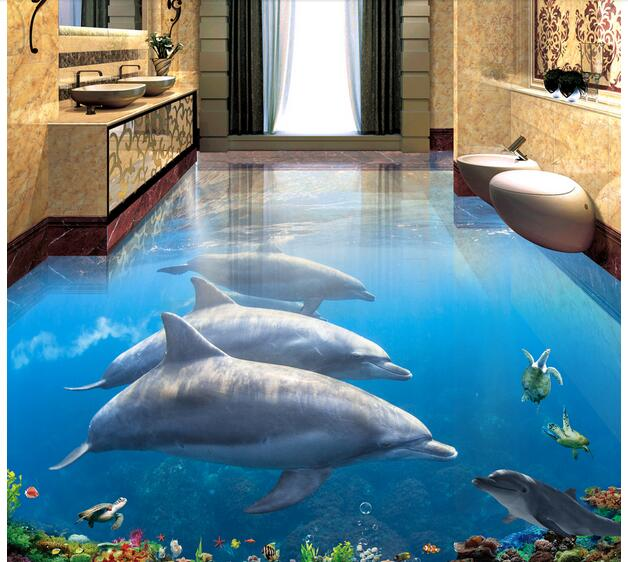 3d pvc flooring custom photo mural waterproof floor picture Dolphins sea world wallpaper for walls 3d room decoration painting 3 d flooring custom waterproof 3 d pvc flooring 3 d tree forest leaves 3d bathroom flooring photo wallpaper for walls 3d
