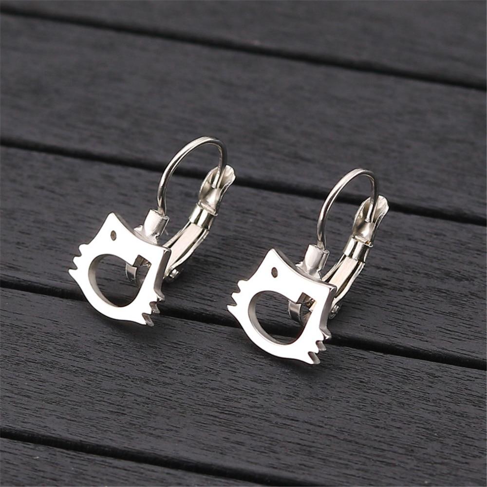 Stainless steel earings fashion cat jewelry women accessories Metal Trendy geometric earrings female gold jewellery in Drop Earrings from Jewelry Accessories