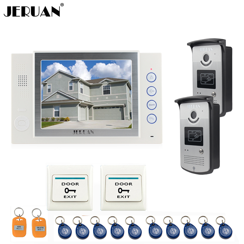 JERUAN 8 inch video door phone doorbell intercom system home access control system video recoreding photo taking with 10 RFID 8 inch video door phone doorbell intercom system home access control system rfid video recoreding and photo storage and playback