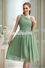2016 New Cheap Short Bridesmaid Dresses Ruched A-Line One-Shoulder Knee-Length Chiffon Hot Sale