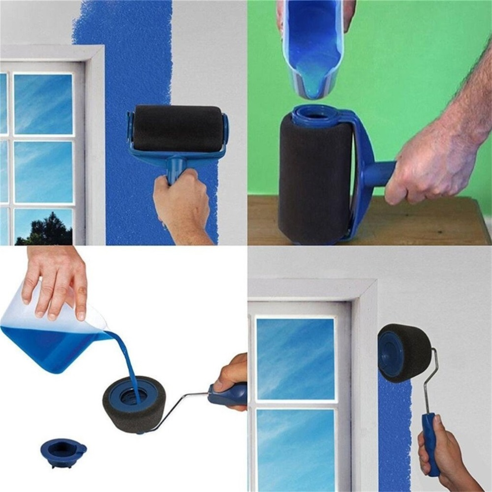 Tools : free ship seamless new Paint Runner Pro Roller Brush Handle Tool Flocked Edger Room Wall Painting Roller Paint Brush Set