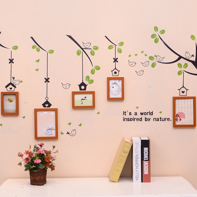 5 Pcs Family Tree Photo Frame Set With Birds Tree Stickerblack