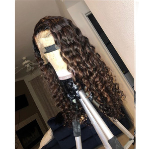 Image 3 - Brown Honey Blonde Ombre Human Hair Wigs 180 Density Highlight Water Wave 360 Lace Frontal Remy Wigs For Black Women Pre Plucked