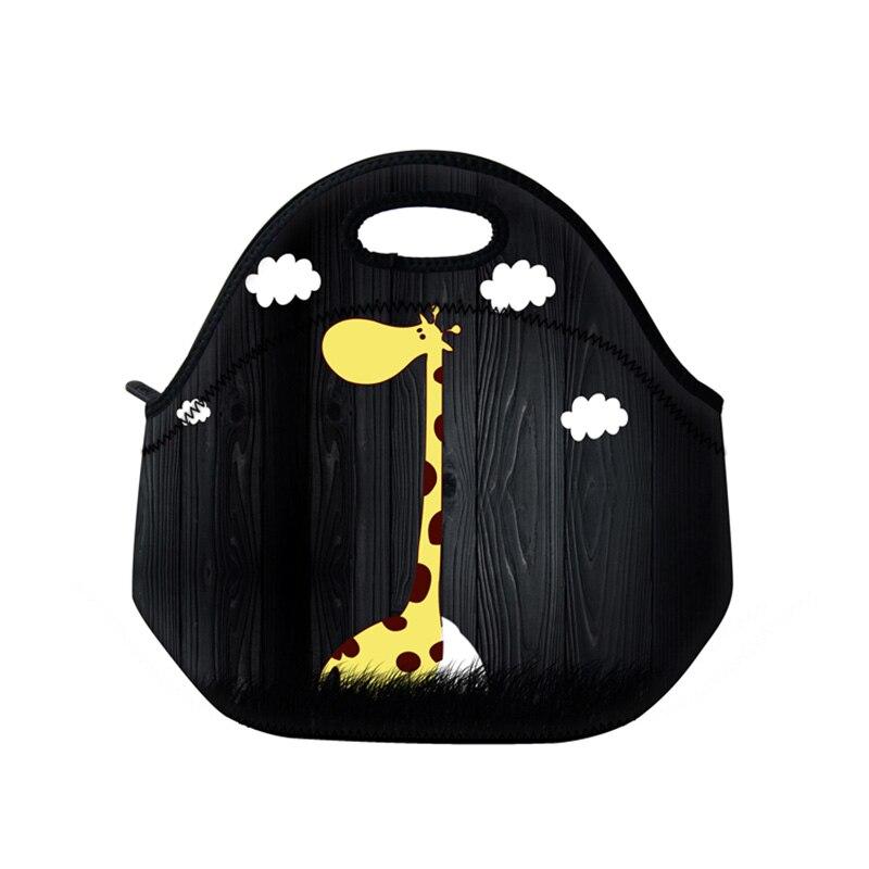 New giraffe neoprene pranzo al sacco portatile termica donne bambini bambino casella di borse casual tote impermeabile contenitore per alimenti