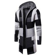 Men Cardigan Winter New Striped Colorblock Mens Long Sweater Male Distressed Sleeve Clothes