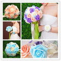 Artificial Rose Bridal Wedding Bouquet Pink White Blue Bouquet of Bride Wedding Accessories Wedding Accessories buque de noiva