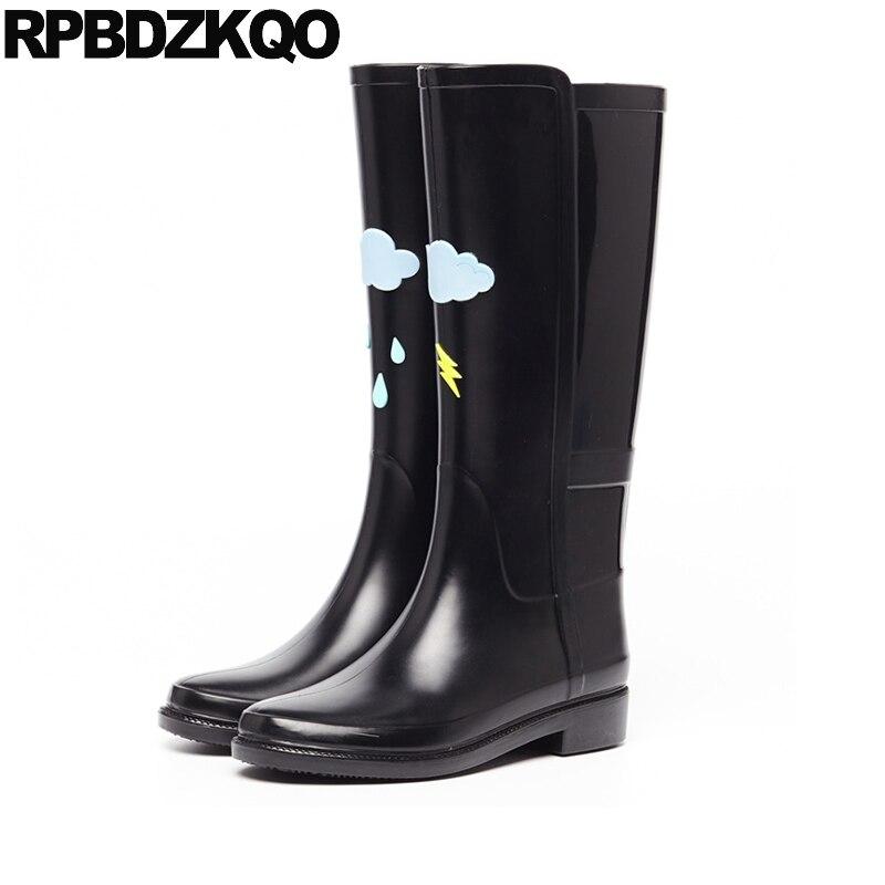 Pioggia Del Rotonda Delle Pvc 1 Da Stampa On Scarpe Kawaii Autunno Stivali  black Impermeabile 2 Slip Donne ... d832deade97