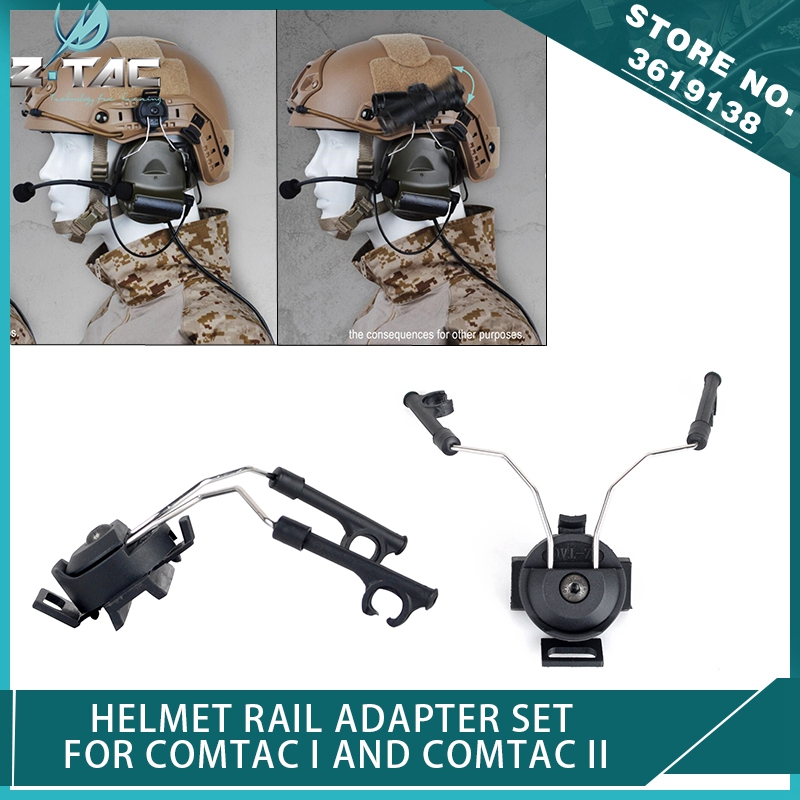 Z-Tactical Peltor Headset Helmet Rail Adapter Set for COMTAC I AND COMTAC II Airsoft IPSC Headphone Adapter Softair Parts